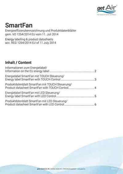 SmartFan Energielabel und Produktdatenblatt deutsch