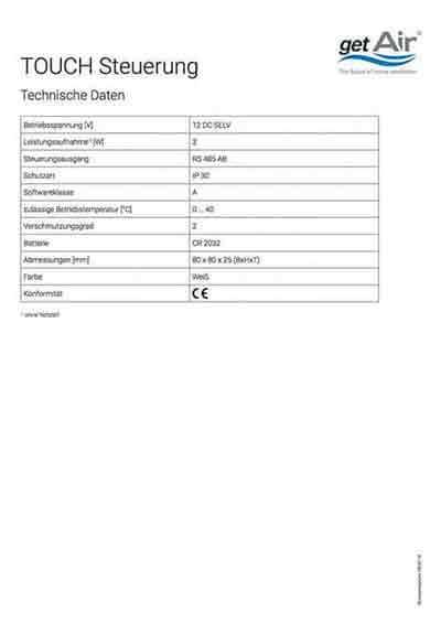 Touch-Steuerung Technisches Datenblatt deutsch